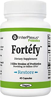 Fortéfy - 3 Elite Strains of Probiotics providing 20 billion CFU per capsule - 45 capsules