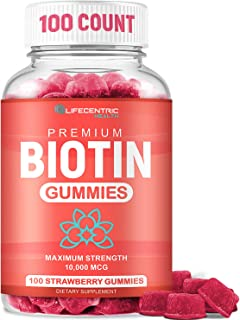 Biotin Gummies for Hair Growth | Max Strength Biotin 10000mcg Prevents Thinning and Loss | Chewable Biotin Supplement for ...
