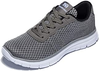 Anbenser Mens Lightweight Runnig Shoes Arch Support Removable Sockliner Outdoor Athletic Walking Shoe(Dark Grey,9 D(M))