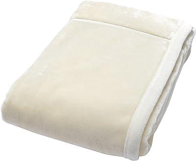 京都西川 アクリル毛布 洗える 日本製 肌にやさしいエリ返し加工 アイボリー ダブル 180×210 2KG2003