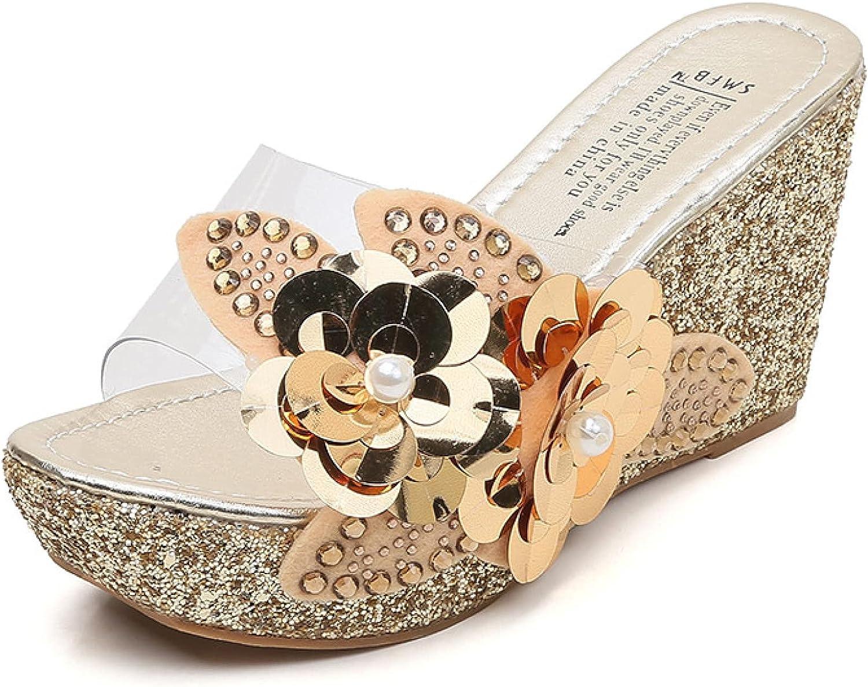 Btrada Women's Beach Wedge Sandals Elegant Clear Retro Flower Slippers Non-Slip Platform Flip Flops Open Toe Shoes Outdoor