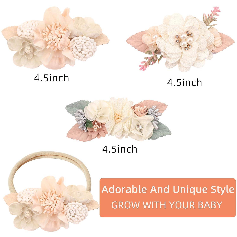 VOBOBE Baby Girl Nylon Headbands Infant Flower Elastic Hair Band Bows Wraps For Newborn Toddler Hair Accessories Pack of 3,Flower Td003,Medium