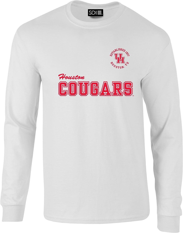 NCAA Houston Cougars Crew Mascot PreShrunk Long Sleeve Tee, Medium, White