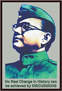 The Artist Indian Great Leader Netaji Subhash Chandra Bose with Quote HD Print Wall Art Framed Painting Without Glass for ...