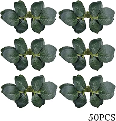 Bs Amor 50pcs Bulk Rose Leaves Artificial Greenery Fake Rose Flower Leaves for DIY Bouquets Centerpieces Party Decorations Rose Vine Wreath Garlands Supplies (50)