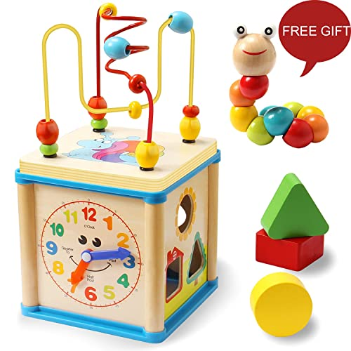 LuaLua Baby Toys For 1 2 3 Year Old Educational Wooden Bead Maze Shape Sorter Activity