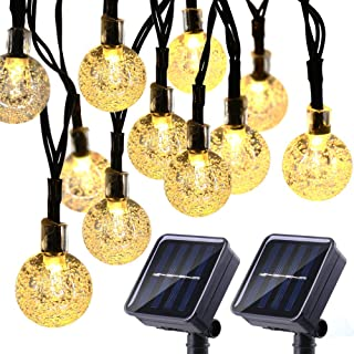 Joomer 2 Pack Globe Solar String Lights 20ft 30 LED Solar Globe LightsWaterproof 8 Modes Crystal Ball Lighting for Patio Lawn Garden Wedding Party Christmas Decorations (Warm White)