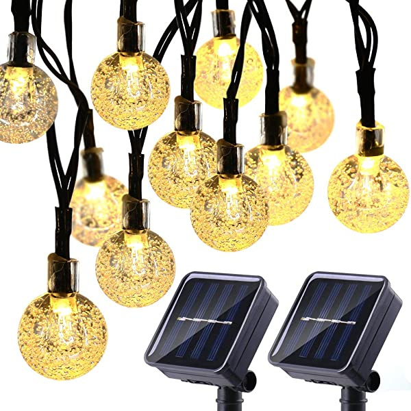 Joomer 2 Pack Globe Solar String Lights 20ft 30 LED Solar Globe Lights Waterproof 8 Modes Crystal Ball Lighting For Patio Lawn Garden Wedding Party Christmas Decorations Warm White