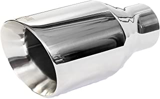 NETAMI 2.25 inch NT-2407 Double Wall Chrome Polished Stainless Steel Exhaust Tip Weld-on 2.25