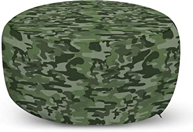 Ambesonne Forest Green Ottoman Pouf, Abstract Pattern in Green Shades Camouflage Classical Uniform Illustration, Decorative Soft Foot Rest with Removable Cover Living Room and Bedroom, Multicolor