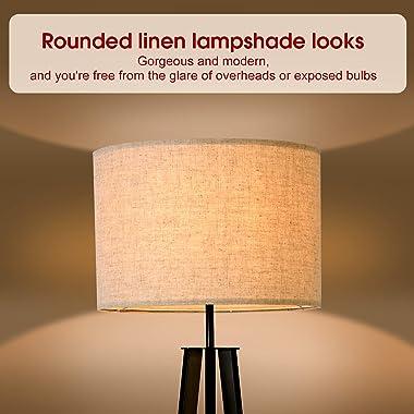 Floor Lamp Standing Lamp,Black Tripod Floor Light, Modern Design Studying Light for Living Room, Bedroom, Study Room and Offi