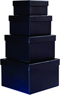 Cypress Lane Square Rigid Gift Box, a Nested Set of 4, 3.5x3.5x2 to 6x6x4 inches (Black)