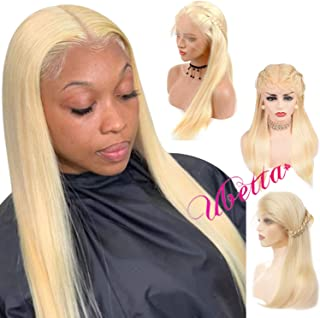 Blonde Full Lace Front Wig Straight Human Hair Pre Plucked Wig for Women 150% Density Glueless Transparent Full Lace Wig Free Part 613 Colored Lace Wig with Baby Hair for Braid and High Ponytail 14
