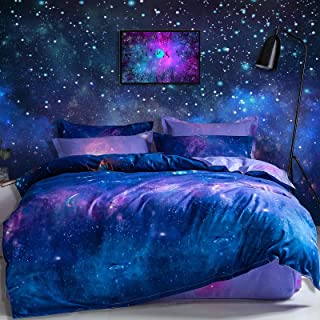 Galaxy Duvet Cover Queen Size - 3 Piece Modern Universe Star Printed Reversible Microfiber Comforter Cover Set - Soft and ...