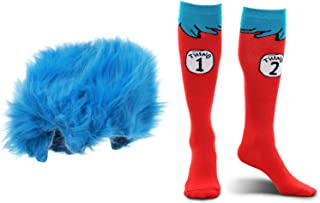 elope Dr. Seuss Thing 1&2 Plush Wig and Costume Socks Kids Kit Bundle
