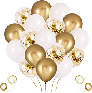 60Pcs 12Inch White and Gold Balloons Chrome Gold Confetti Balloons for Baby Shower Birthday Party Decorations