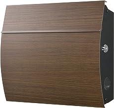 LEON (レオン) MB4801 ブラックエディション 郵便ポスト 壁掛けタイプ ステンレス製 鍵付き おしゃれ 大型 ポスト 郵便受け ウォールナット