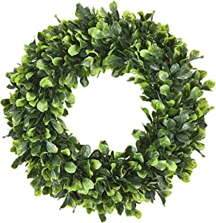 Sunmboutique Boxwood Wreath, 15'' Artificial Wreath Outdoor, Green Leaves Wreath Round Wreath for Front Door Hanging Wall Window Wedding Party Decor