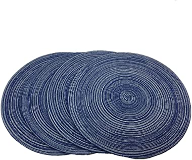 WAZAIGUR Red-A,Placemats,Round Placemats for Dining Table Set of 4 Woven Heat Resistant Non-Slip Kitchen Table Mats Diameter 14 inch(Blue)