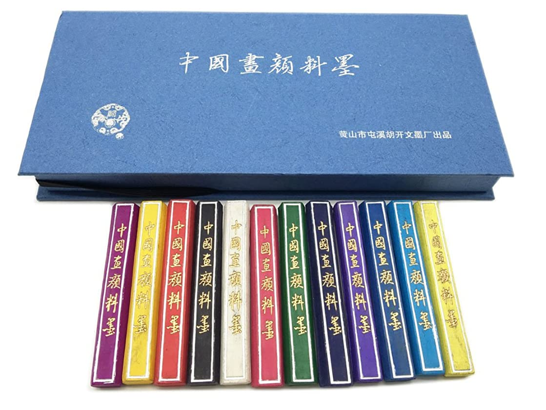 Hukaiwen Ink Block 6221603 Natural Mineral Inkstick for Japanese Chinese Traditional Calligraphy and Drawing, 12 Colors