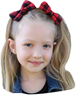 Girls Lumberjack Big Hair Bow Set of 2 Matching Clips Buffalo Plaid Checkered Red Black
