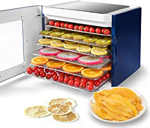D'amour Electric Food Dehydrator Machine for Beef Jerky, Meat, Fruit, Dog Treats, Herbs, Vegetable, 6 Stainless Steel Trays Food Dryer Dehydrator with Digital Timer and Temperature Control, Led Touch, 400W