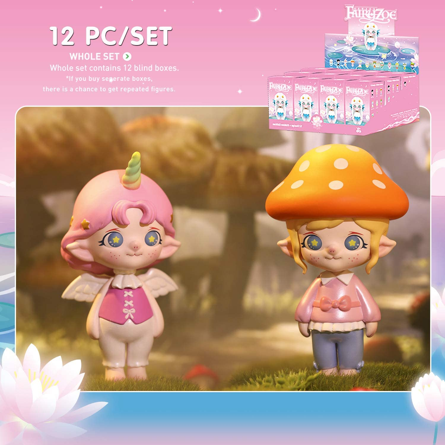 POP MART Fairy Zoe Series Collection Zodiac Art Toy Popular Collectible Cute Kawaii Toys Figures Blind Box Gift for Christmas Birthday Party Holiday-12 PCS//Set