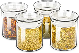ZENS Small Glass Canister with Lid, Clear Airtight Sealed Spice Jars Set of 4, 8 Fluid Ounce Decorative Kitchen Containers for Herbs or Apothecary