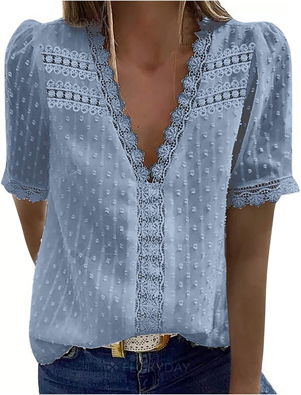 Women's V Neck Short Sleeve/Sleeveless Lace Shirts Blouses Vintage Elegant Tunic Tops, S-3XL