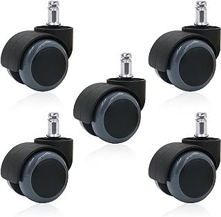 Hiveseen ウレタンキャスター OAオフィスチェア用ホイール 5個セット 変換ゴムキャスター ホイール差込式 360度回転 取替えキャスター 差込式キャスター 静音 傷つけにくい 適応穴直径11mm