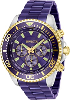 Men's Pro Diver Quartz Watch with Stainless Steel Strap, Purple, 22 (Model: 27479)