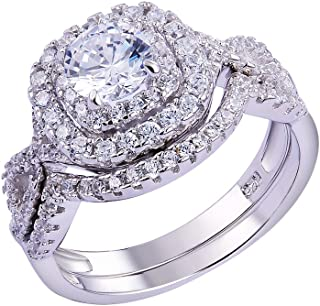 Newshe Wedding Band Engagement Ring Set for Women 925 Sterling Silver 1.8Ct Round White AAA Cz...