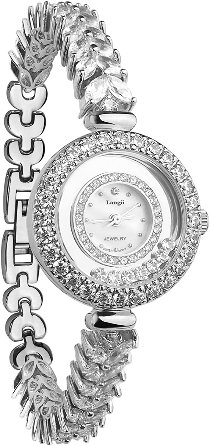 Luxury Trust Jewelry Bracelet Watches Women Silver- - Selling rankings Accented Crystal