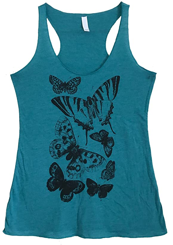 Friendly Oak Women's Moth and Butterfly Print Tank Top