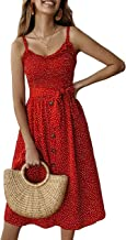 PRETTYGARDEN Women's Summer Sunflower Boho Spaghetti Strap Semi-Backless Button Down A-Line Midi Dress with Belt and Pockets