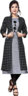 New Generation Fashion Hub Women's A-Line Cotton Kurti with Shrug