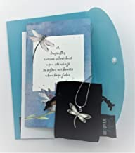 Smiling Wisdom - White Abalone Shell Dragonfly Gift Set - Restores Hope & Joy Uplifting Dragonflies Greeting Card - Comfort Her Woman Teen Friend - Silver & Opal Colored, Blue Card - New