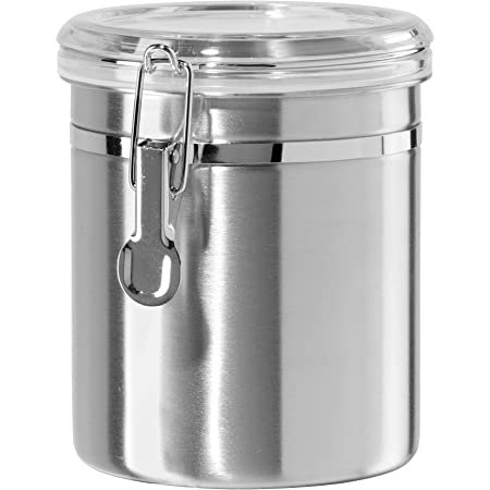 Oggi 47-Ounce Stainless Steel Canister with Clear Arylic Lid and Locking Clamp,5304,Silver