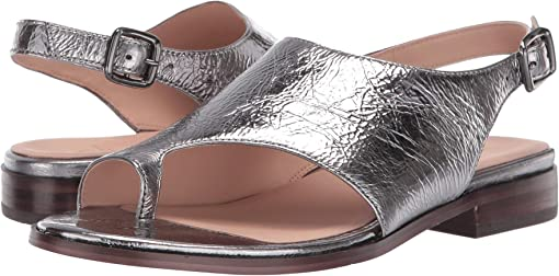 Pewter Metallic Shiny Leather