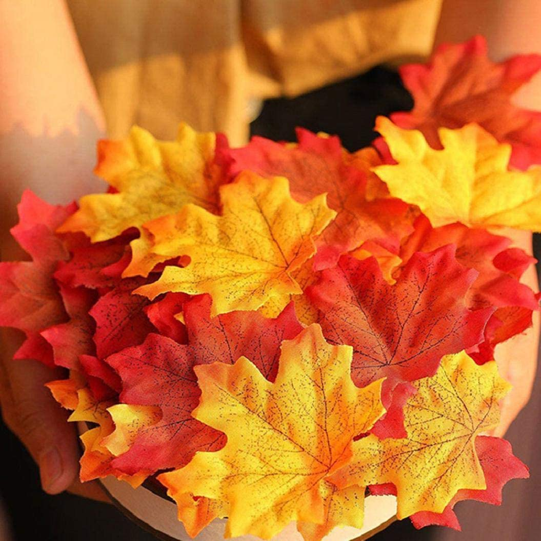 Yuson Girl 100pcs Artificial Autumn Fall Maple Leaves Mixed Fall Colored Leaf for Wedding Event Art Scrapbooking Thanksgiving Christmas Halloween Home Decor Decorations