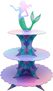 Mermaid Cake Stand 3 Tier Mermaid Party Supplies Cupcake Stand Mermaid Party Decortions for Mermaid Theme Party Baby Shower Birthday Party Supplies