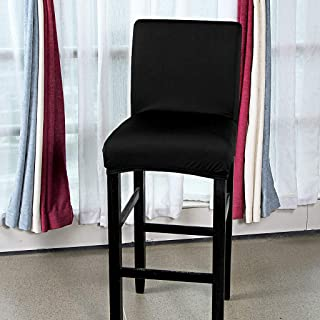 BTSKY 2 Pack Stretch Chair Cover Slipcovers, Counter Height Bar Stool Covers Dining Room Kitchen Barstool Cafe Furniture High Seat Chair Protectors Black