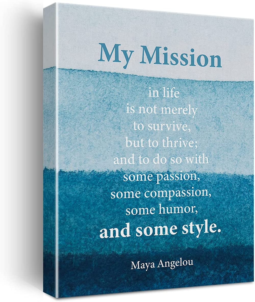 Inspirational Wall Art My Mission in Life Is Not Merely to Survive Canvas Painting Maya Angelou Quote Prints for Home Living Room Wall Decor Framed Artwork Gifts(12x15 Inch)