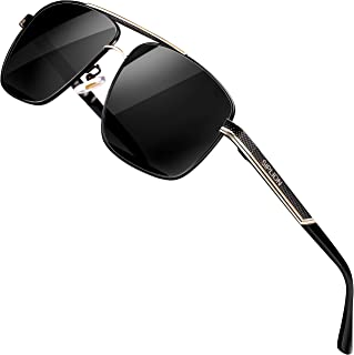 SIPLION Men's Driving Polarized Rectangular Square Sunglasses Metal Frame
