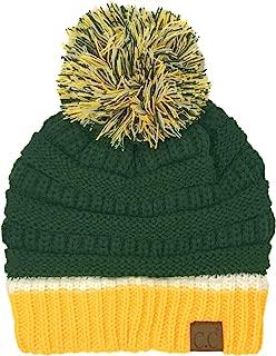 CC Football Basketball Team Colors Pom Winter Chunky Stretchy Knit Beanie Hat