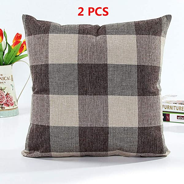 Shuwei Farmhouse Decor Throw Pillow Covers Buffalo Check Cotton Linen Pillow Covers 18 X 18 Inch Brown 18 X 18 2 Pcs