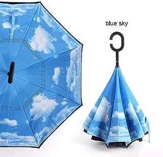 C Handle Windproof Reverse Folding Umbrella Man Women Sun Rain Car Inverted Umbrellas Double Layer Anti UV Self Stand Parapluie,blue sky