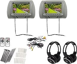 Pair Rockville RHP7-GR 7 Grey TFT-LCD Car Headrest Monitors+2 Wireless Headsets