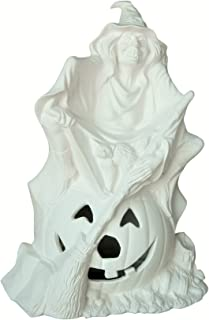 Pandora Witch & Pumpkin Halloween Unpainted Ceramic Bisque - Handcrafted in The USA (Cut Out & Brown Light Kit)