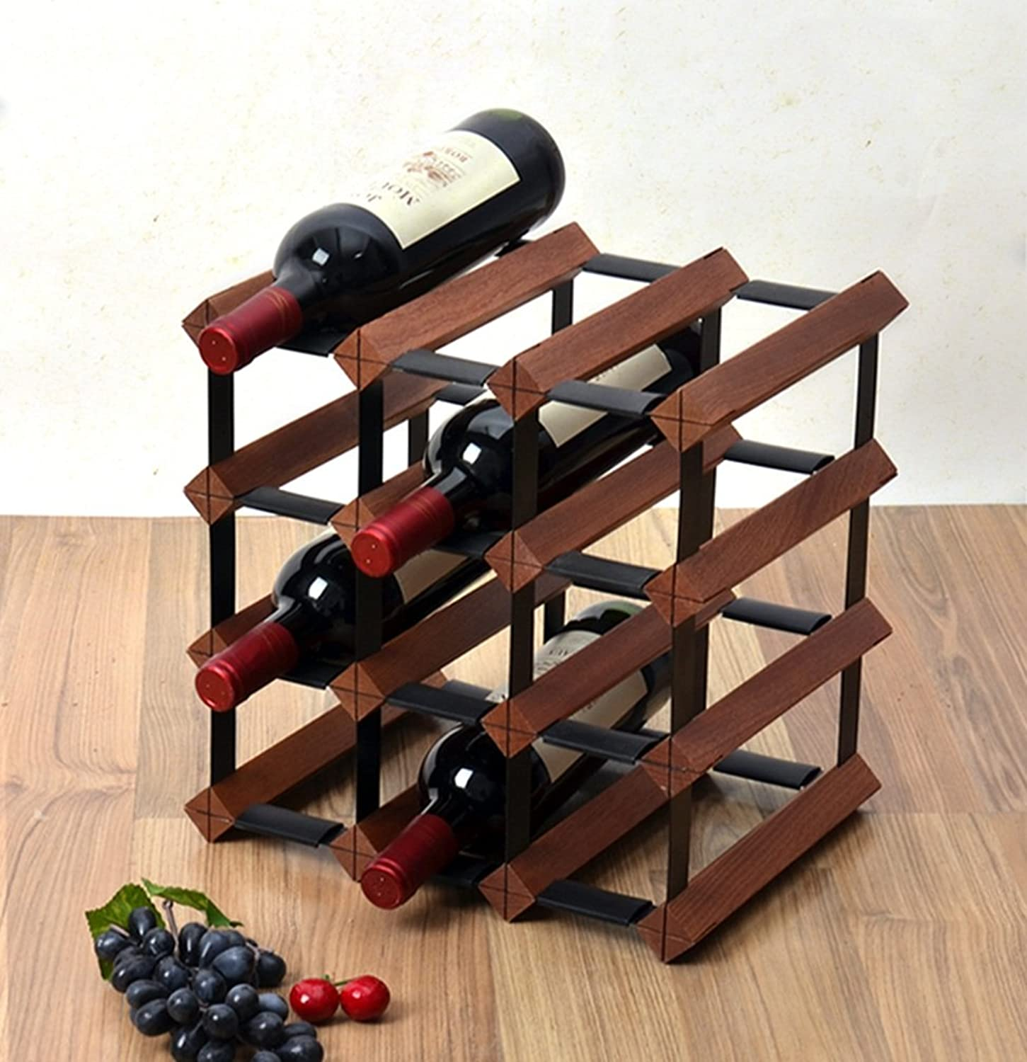 JJJJD 4 Tier Wooden Wine Rack,Freestanding Metal Steel Wood Cabinet Bottle Holder,Wine Bottles Organiser On Table,Wine Cupboard Storage Decoration,Ready to Assemble (Size   12 Bottle)